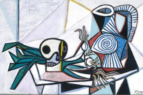 Pablo Picasso Still Life with Skull, Leeks and Pitcher (Nature morte avec crâne, poireaux et pichet) 14 March 1945