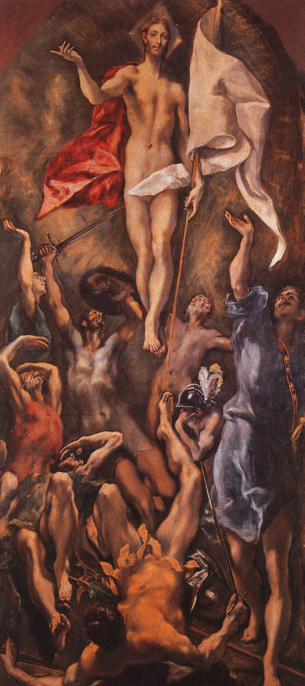 The Resurrection; El GRECO; 1596-1610; oil on canvas, altarpiece, College of Dona Maria; Toledo, Spain