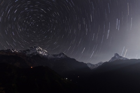 Startrails over Annapurna vie apod.nasa.gov