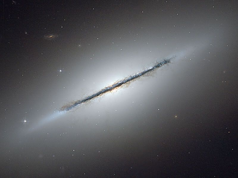 A spiral galaxy seen side on- From Hubble