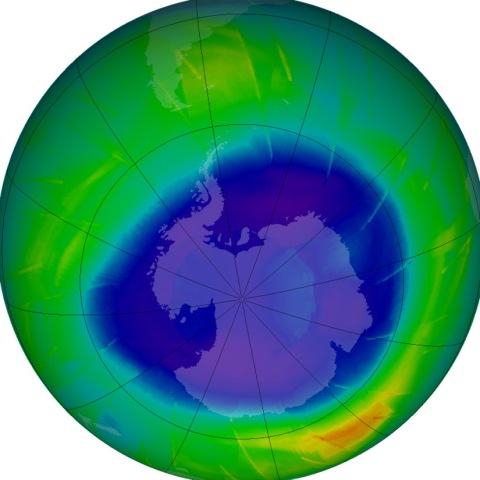 Ozone Hole over Antarctica via NASA Earth Observatory